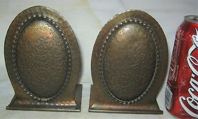 Antique Solid Hammered Copper Roycroft Mission Arts Crafts Statue Book Bookends