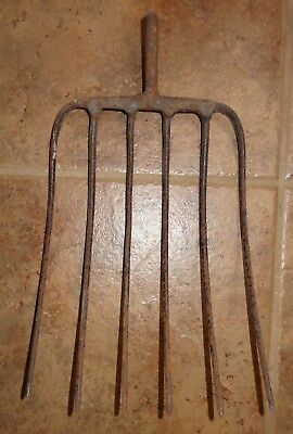 Old Vintage 6 Tine Metal Pitchfork Head Rustic Primitive Garden Farm Tool Iron?
