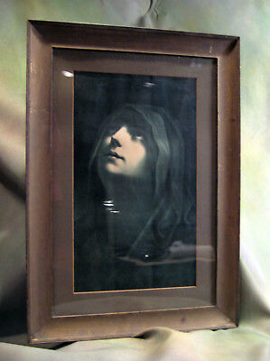 """Antique 1920 """"Mary at the Foot of the Cross"""" Lithograph Original Wood Frame"""