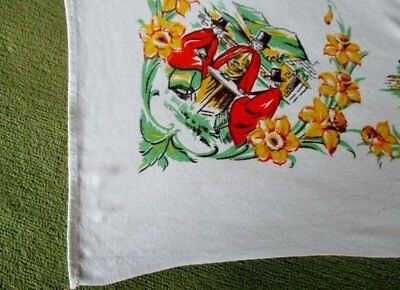 WELSH VINTAGE TABLECLOTH with WELSH LADIES AND DAFFODILS
