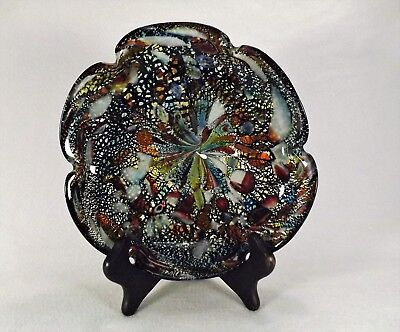 "Circa 1950""s Murano Venetian  Art Glass Bowl  Gold Flecks Multi Colored LARGE"