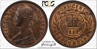 1896 Newfoundland Large Cent PCGS MS63 Red Brown Lot#G011 Choice UNC!