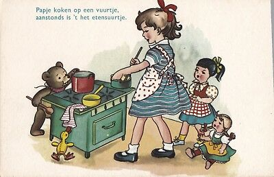 ji children old antique picture postcard greetings comic collecting teddy bear