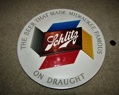 SCHLITZ beer ON DRAUGHT 1960's round MULTI-COLOR wall sign