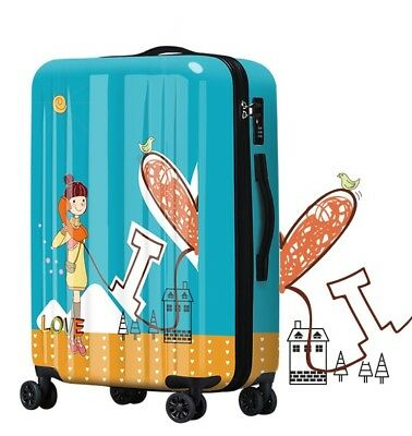 E438 Lock Universal Wheel Blue Girl Pattern Travel Suitcase Luggage 24 Inches W