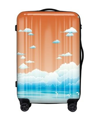 E245 Lock Universal Wheel Seaview Pattern Travel Suitcase Luggage 24 Inches W