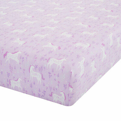 Catherine Lansfield Folk Unicorn Easy Care Fitted Sheet, Pink