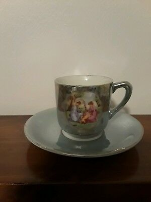 Vintage Green Luster Demitasse Cup and Saucer with Portrait of Women and Baby