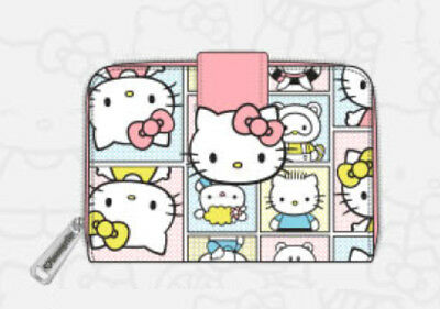 $ New LOUNGEFLY HELLO KITTY Wallet SANRIO Pink Family Ziparound Short Small Fold
