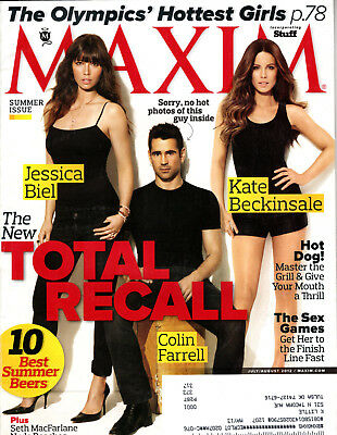 Maxim Magazine July August 2012 Jessica Biel Colin Farrell Kate Beckinsale