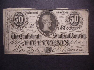 Civil War Confederate State Fifty Cents Paper Money 1864