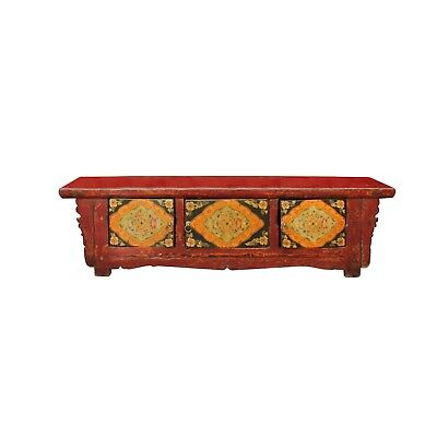 Chinese Vintage Floral Graphic Low Altar Shrine Offer Table cs4548