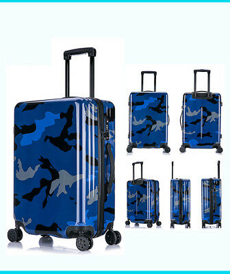 E965 Blue Universal Wheel Coded Lock Travel Suitcase Luggage 20 Inches W