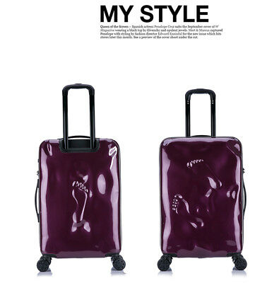 E933 Purple Coded Lock Universal Wheel Travel Suitcase Luggage 20 Inches W