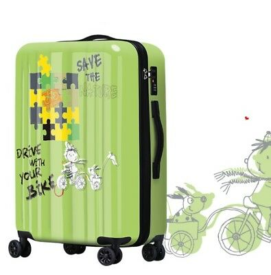 E474 Lock Universal Wheel Green Pattern Travel Suitcase Luggage 24 Inches W