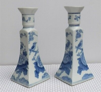 """Vintage Pair Blue & White Glazed Ceramic With Oriental Design Candle Holders 8¾"""""""