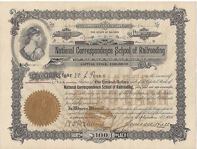 Stk-National Correspondence School of Railroading 1908 Chicago, IL #327 for 10 s