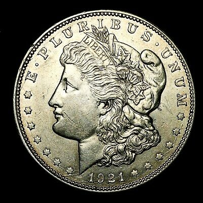 1921 D ~**ABOUT UNCIRCULATED AU**~ Silver Morgan Dollar Rare US Old Coin! #R37