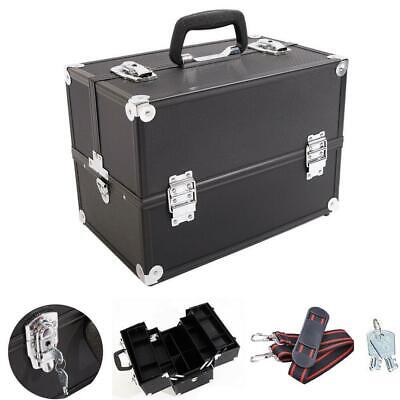 "14"" Aluminum Makeup Case Cosmetic Train Storage Trays Lock Jewelry Box 2 Keys US"
