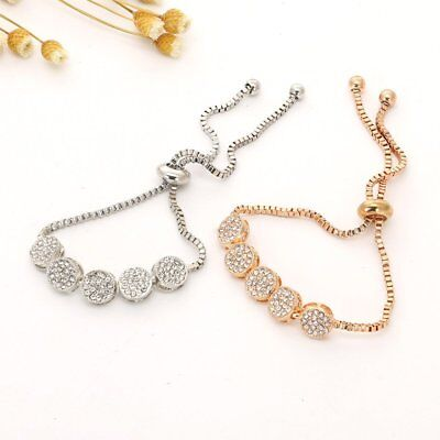 Fashion Women Simple Rhinestone Crystal Adjustable Round Beads Bracelet Bangle