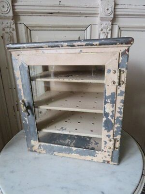 FABULOUS Old Vintage GLASS on 3 SIDES MEDICAL CABINET Metal Chippy Paint SMALL