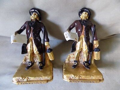 Antique Town Crier Bookends K&O Painted NR!!!
