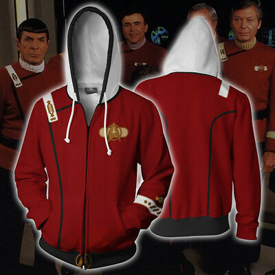 Star Trek II The Wrath of Khan Men Hoodie Zipper Jacket Coat Cosplay Sweatshirt#