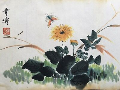 Chinese Wang Xuetao Handwork Chrysanthemum Old Antique Rare Collectible Painting