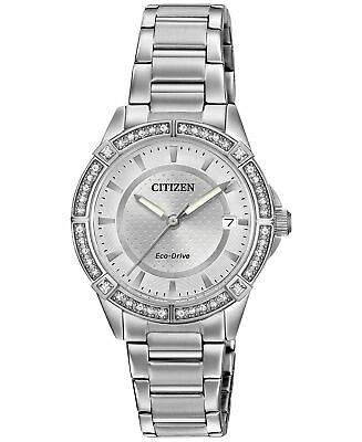 NEW Citizen FE6060-51A Eco-Drive Crystal Accent  Silver Dial Women's Watch