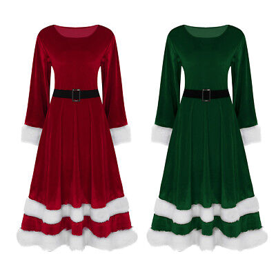 Christmas Womens Ladies Velvet Long Sleeves Santa Dress Xmas Costume Clothes