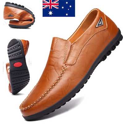 Summer Men's Casual Driving Boat Shoes Leather Shoes Moccasin Slip On Loafers