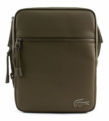 LACOSTE L.12.12 Concept M Flat Crossover Bag Umhängetasche Military Olive Braun