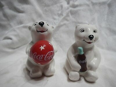2 Coca-Cola Polar Bears With Red Ball and Coke Bottle Salt And Pepper Shakers