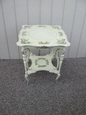 54082 Romantic Shabby HAND PAINTED ANTIQUE LAMP TABLE ARTIST SIGNED