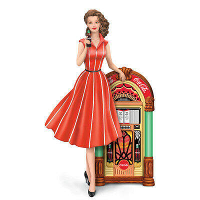 Rockin with Coca Cola Lady with Juke Box Figurine - Bradford Exchange