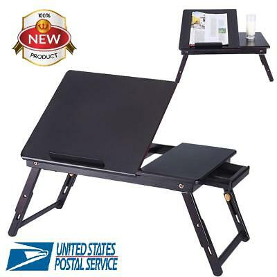 Adjustable Folding Laptop Table Lap Desk Bed Computer Tray Stand w/ Drawer Black