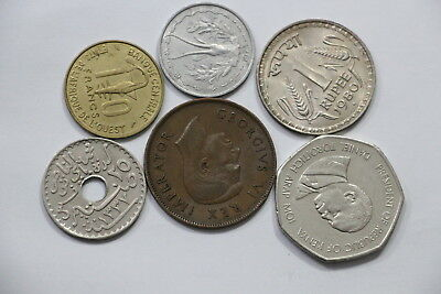 Tunisia 25 Centimes 1919 + India Rupee 1980 & Others Lot A98 Wn10