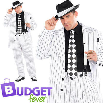 Adult Mens 1920s Gangster Mafia Pinstripe Waistcoat Vest Fancy Dress Accessory