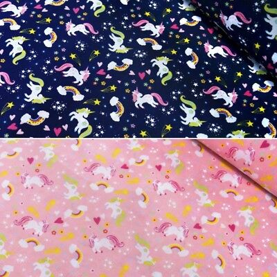 Polycotton Fabric My Little Unicorn Rainbow Stars & Hearts