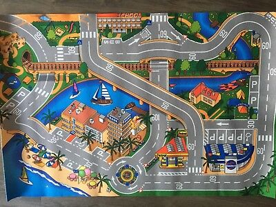 Children's Kids Rugs Town Road Map City Cars Toy Rug Play Village Mat 120cm X 79