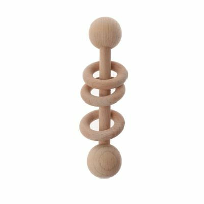 Food Grade Wooden Teether Baby Rattles Montessori Toys Shower Gift Teething Ring