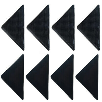 4xTriangle Rug Grippers Mat Corner Grips Anti Skid Floor Black Carpet Edge Stick