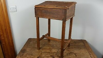 ANTIQUE 1890's VICTORIAN CHILD'S SCHOOL DESK PINE WOOD MADE IN ENGLAND