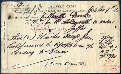 1906 HOARE, MARR & Co. BUDGE ROW, CANNON STREET, LONDON : DELIVERY ORDER RECEIPT