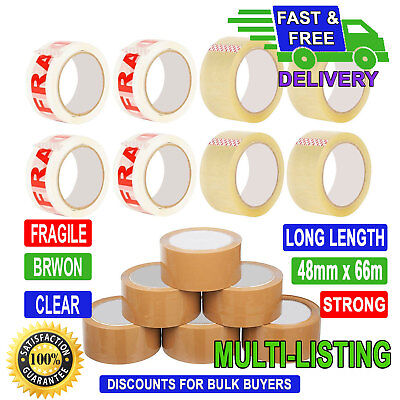 STRONG LONG LENGTH PACKING PARCEL TAPE - BROWN / CLEAR / FRAGILE 48mm x 66M