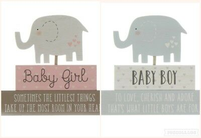 Baby stacked Blocks Elephant Free Standing Plaque Nursery Decoration Boy & Girl