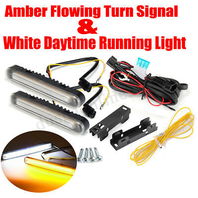 2x Universal Grille LED Flowing Turn Signal DRL Luce di marcia diurna