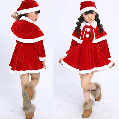 3PCS Kid Baby Girls Christmas Clothes Costume Party Dresses+Shawl+Hat Outfit KP