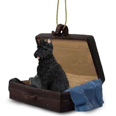 Bouvier des Flandres Crop Traveling Companion Dog Figurine In Suit Case Ornament
