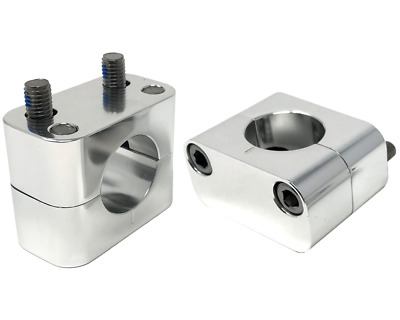 Motorbike Handlebar Risers Clamps for 28mm Handlebars - 20mm Rise - Polished
